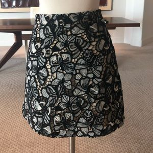 Alice + Olivia Black and Grey Lace Skirt